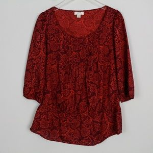 Ann Taylor Loft Blouse Red Paisley L/S Pintuck Loo